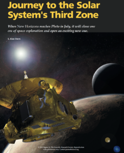 "Opening page for ""Journey to the Solar System's Third Zone"", an article by Alan Stern published by The Scientific Research Society"
