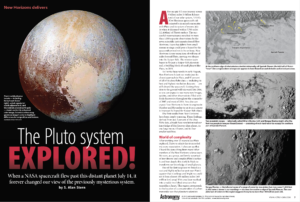 "Opening pages of article ""The Pluto System Explored!"", published in Astronomy Magazine"