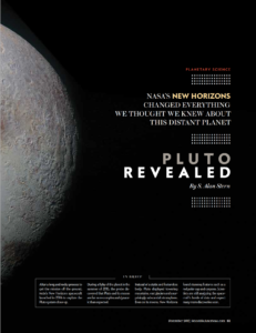 "Opening page of article ""Pluto Revealed"", published in Scientific American"